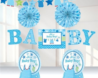Boy's Shower With Love Room Decorating Kit - welcome new baby - brand new boy - mummy to be