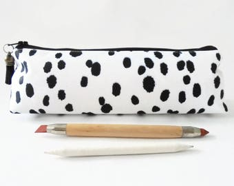 Art gifts, Dalmatian print, pencil pouch, brush bag, cosmetic pouch.