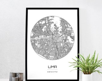 Lima Map Print - City Map Art of Lima Peru Poster - Coordinates Wall Art Gift - Travel Map - Office Home Decor