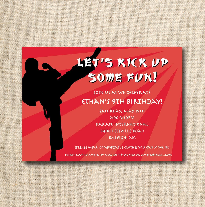 Contemporary Taekwondo Party Invitations Images - Invitation Card ...