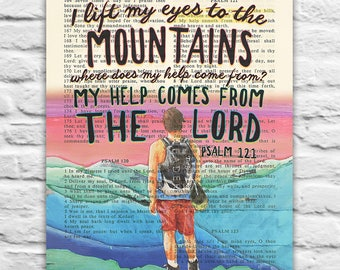 Vintage Bible page verse -I lift my eyes the the Mountains - Psalm 121  Instant DIGITAL DOWNLOAD, 8x10 11x14, dictionary christian gift