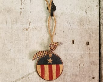 Americana Ornament, Americana Ornament, Red White and Blue, Primitive Christmas, Americana Ornament, Americana Christmas, Wood Ornament