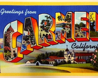 Large 18x12 CARMEL by-the-Sea TRAVEL POSTER Exclusive Retro Art Deco Vintage Poster  1940s Postcard style Carmel Mission Vanguard Gallery