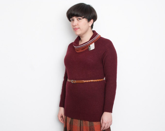 NOS vintage cowl neck knit sweater Maroon Size M or L