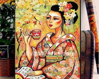 Geisha and Tea Japanese Girl Woman Painting, home decor wall decor woman art, ACEO wood block, CG
