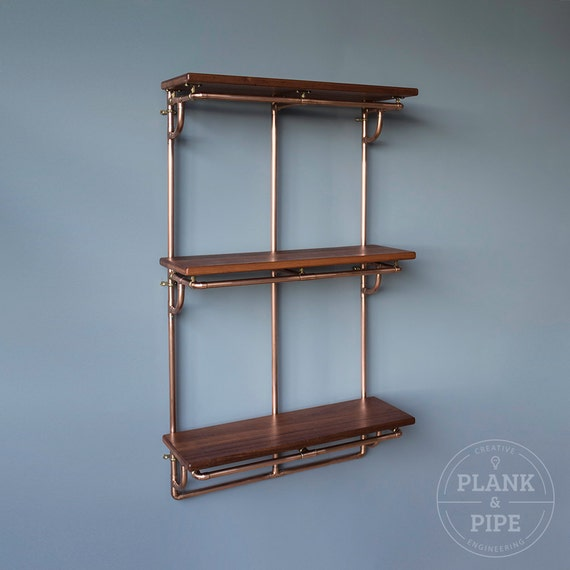 Copper Pipe Shelving Unit In An Industrial Urban Vintage