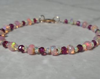 Opal Bracelet, Ethiopian Opal, Tourmaline Bracelet, Pink Tourmaline, Pink Opal Bracelet, October Birthstone, Gold Filled, Dainty Bracelet