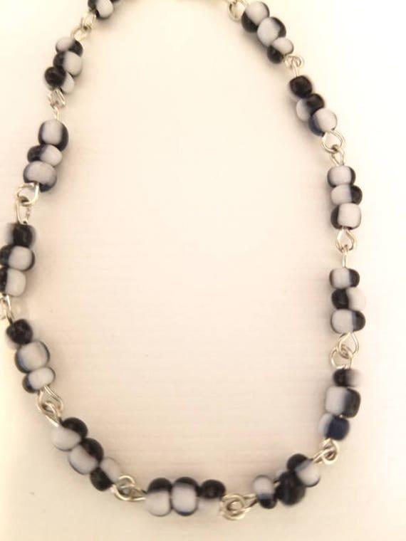 black and white glass seed beaded chain bracelet handmade jewelry