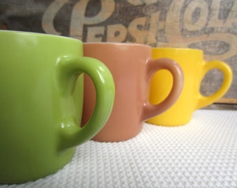 Vintage Painted Milk Glass Mugs Retro Yellow Green Dusty Rose