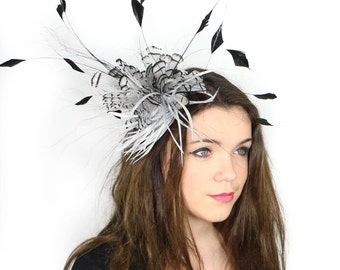 Partridge Pale Grey and Black Fascinator  Hat for Weddings, Occasions and Parties on a Headband