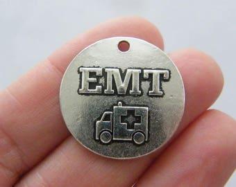 2 EMT ambulance charms antique silver tone MD102