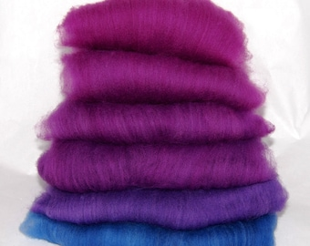 Falkland Plum Blue Ombre Spinning Batts - 6 ounces