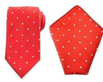Mens Necktie Red White Polka Dots 8.5 cm Necktie with Pocket Square. Red Wedding Necktie. Neck tie Pocket Square. Groomsmen Necktie + hankie