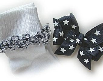 Kathy's Beaded Socks - Navy and White Stars Socks and Hairbow, girls socks, navy socks, school socks, clear socks