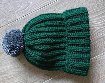 Bobble Hat/ Slouchy Hat/ Handmade Adult Ribbed Pom Pom Hat/ Adult Knit Pom Pom Hat/ Adult Winter Hat/Indie Hat/ Bobble hat Vegan Friendly!