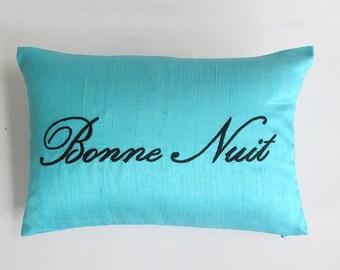 turquoise blue bonne nuit pillow cover silk pillow 12x16