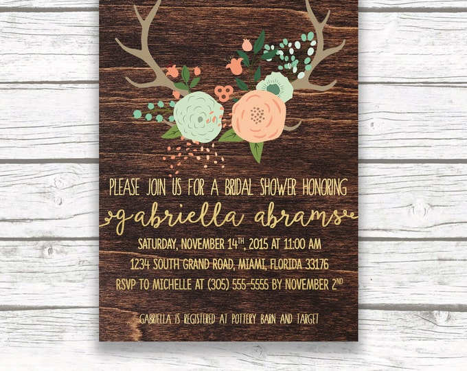 Wood Antler Rustic Floral Boho Bridal Shower Invitation, Gold Foil, Mint and Pink, Mint and Peach, Calligraphy, Printed Printable Invitation