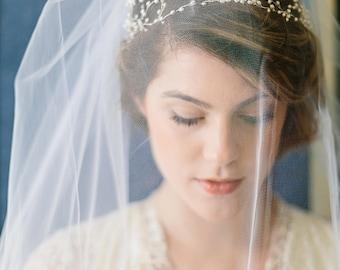 Bridal wreath, wedding headpiece, vintage inspired bridal headpiece, pearl hair piece, bridal hair accessory - Isabella