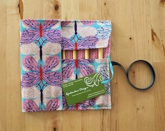 Crochet Hook Case / Organizer / Holder - Butterflies Fabric with Pink Geometric Lining