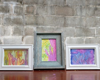 "Three (3) Framed Mixed Media Cactus Paintings - Gouache & Watercolor on Paper - 4"" x 6"""