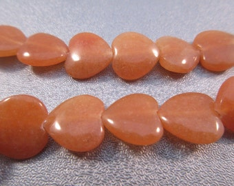 Peach Aventurine Heart Beads 35pcs