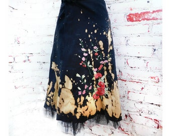 embroidered skirt women - acid wash skirt -lined skirt women -Festival skirt women - cotton summer skirt -Midi Folk Skirt - #23
