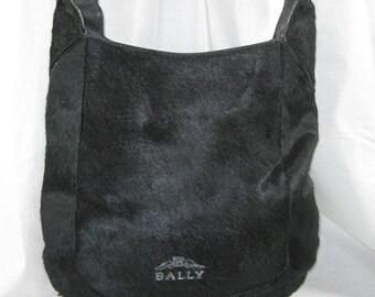 15% off SPRING SALE Genuine hard to find vintage Bally black calf hair leather boho shoulder bag 1993