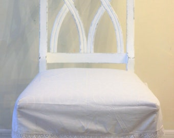 Shabby White Cotton Chair Seat Cover with Cluny Lace Trim Customized To Fit Your Chair