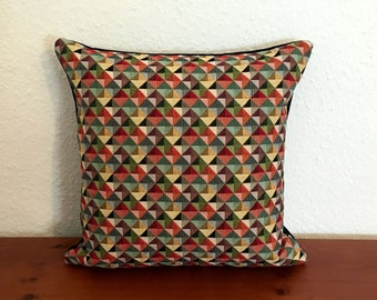 Pillow cover, pillow case pillow geometric triangles 40 x 40 cm with zipper
