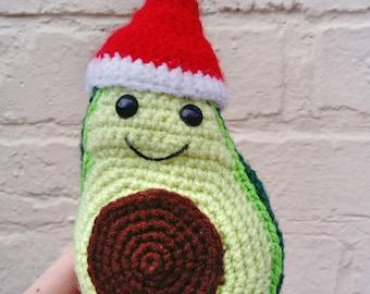Avocado Christmas Crochet Gift - Santa hat Amigurumi Avocado - Crocheted Vegan Gift - Stuffed Cute Avocado Lover Gift - Cuddly Soft Avocado
