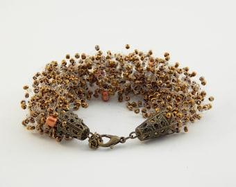 Vintage style bracelet Beaded bronze jewelry bohemian bracelet Girls viking jewelry Renaissance Jewelry antique jewelry bronze cuff bracelet