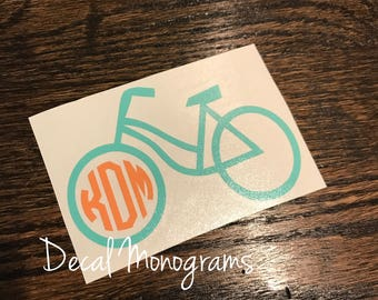 Bike monogram Decal / Bicycle Monogram Vinyl Decal / One or two color