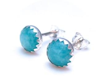 Gemstone Stud Earrings, Amazonite Earrings 6mm, Jewelry For Her, Light Blue Earrings Studs
