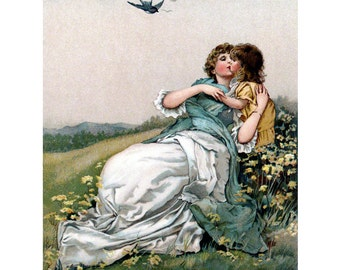 Mother Daughter Card | Mama and Child in Meadow Notecard | Harriet Bennett Repro Vintage Style