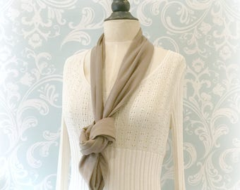 Jersey Scarf - Infinity Scarf - Taupe Scarf Women - Womens Scarves - Spring Scarf - Gift For Her - Scarves - Circle Scarf - Handmade in USA