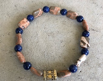 Safari Jasper beads with Blue lapis and golden accent bead.