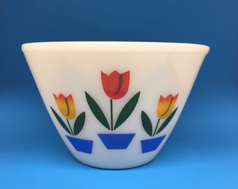 Fire King Tulip Bowl, 8 1/2 Inches, Fire King Ivory, Fire King Splash Proof Bowl