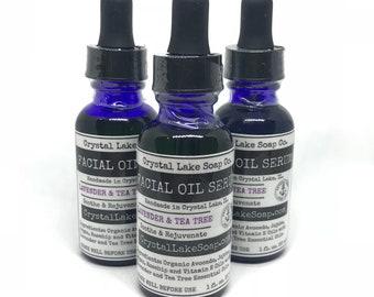 FACIAL OIL SERUM - Lavender & Tea Tree Organic - Soothing Moisturizer for All Skin Type! Jojoba, Argan and Rosehip Oils