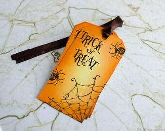 Set of 5 Halloween Gift Tags, Handmade Tags, Favor Tags, Custom TagsHalloween Treat Tags, Gift Tags, Hang Tag, Halloween Tags