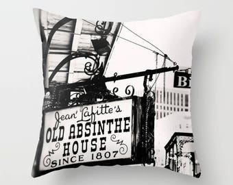 photography pillow cover, black and white, throw pillow, new orleans pillow, french quarter, travel, Jean Lafitte Old Absinthe House