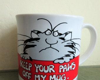 Vintage Mug, Grumpy Cat, Coffee Cup, Sandra Boynton, Ceramic Cup, Paws Off Mug, Cute Kawaii, Made in Japan, 1980s Mug, Cat Mug, Cat Cup