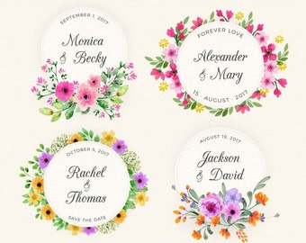 Watercolor Wedding Square Labels, Floral Pink Yellow Initial Stickers, Wedding Stickers for Wedding Favors, Paper Bag Favor Labels, Monogram