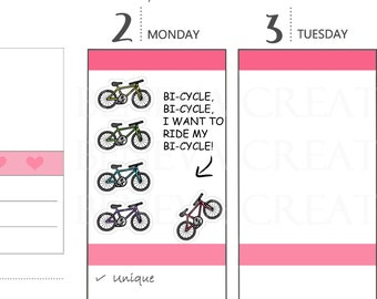 Bike Stickers - Bicycle Stickers - Cycling Stickers -  Bike Riding Planner Stickers - SE-020