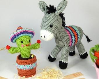 Dante the Donkey and Carlos the Cactus - Amigurumi Crochet Pattern