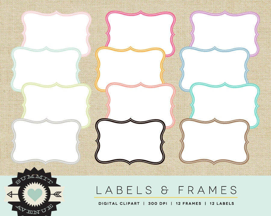 INSTANT DOWNLOAD Etiketten & Frames digitale ClipArt