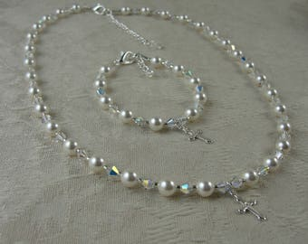 First Holy Communion Necklace and Bracelet Set,Sterling Silver Cross,  Swarovski Pearl and Crystal, Free Shipping