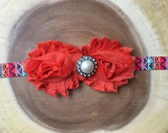 Aztec style shabby headband