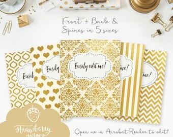 "Gold binder inserts: ""CREAM & GOLD"" 5x set Cover + Spine | Binder insert | Binder printable | Teacher binder | School binder | Binder cover"