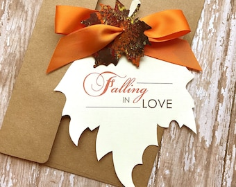 Falling in Love, Fall Wedding Save the Date, Autumn Wedding Save the Date, Leaf Shape Save the Date, Rustic Save the Date, Fall in Love Card