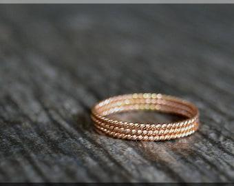 Set of 3 Ultra Thin 14k Rose Gold Filled Stacking Ring, Twisted 14k Rose gold filled ring, Delicate gold filled ring, Dainty stacking ring